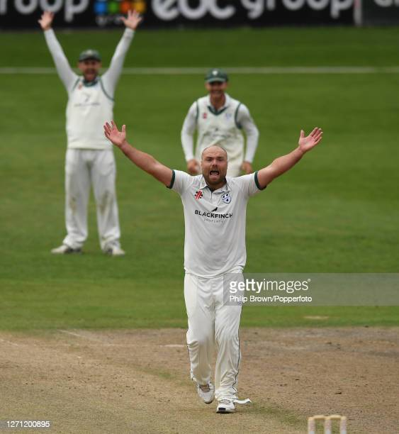 Joe Leach of Worcestershire appeals unsuccessfully during the Bob Willis Trophy match against Somerset at New Road on September 07, 2020 in...