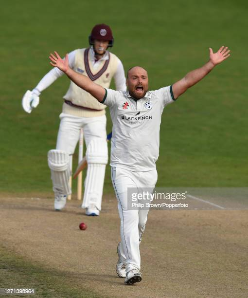 Joe Leach of Worcestershire appeals unsuccessfully for the wicket of George Bartlett of Somerset during the Bob Willis trophy match at New Road on...