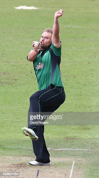 Joe Leach of Worcestershire bowls during the Royal London One day Cup match between Leicestershire Foxes and Worcestershire at Grace Road on August...