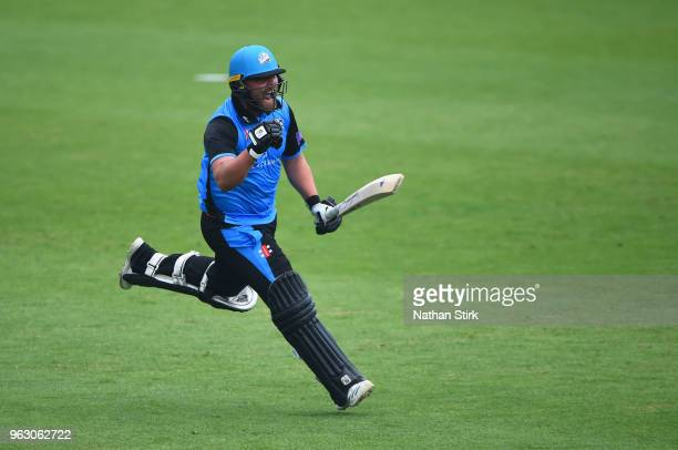 Joe Leach of Worcestershire celebrates after beating Lancashire during the Royal London OneDay Cup match between Worcestershire and Lancashire at New...