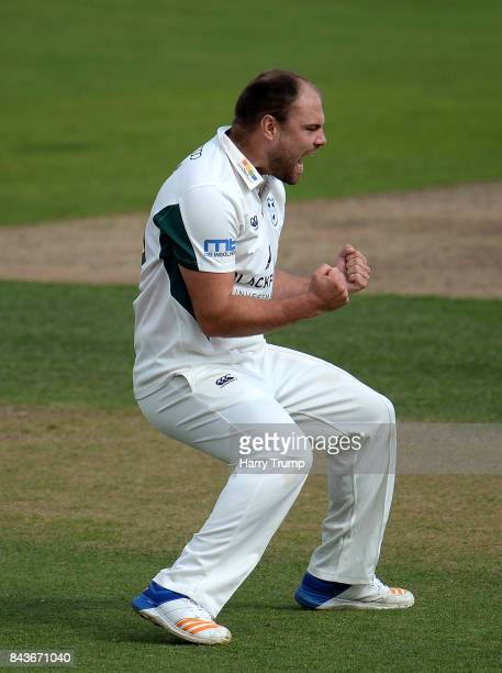 Joe Leach of Worcestershire celebrates after dismissing Brendan Taylor of Nottinghamshire during day three of the Specsavers County Championship...