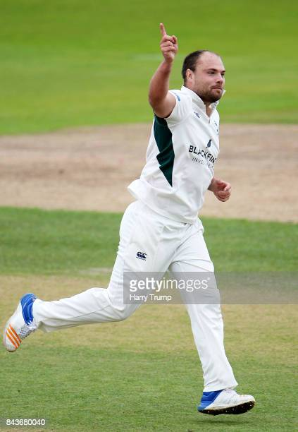 Joe Leach of Worcestershire celebrates after dismissing Brett Hutton of Nottinghamshire during day three of the Specsavers County Championship...