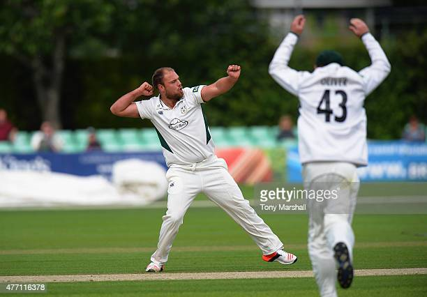 Joe Leach of Worcestershire celebrates taking the wicket of Ateeq Javid of Warwickshire during the LV County Championship match between...