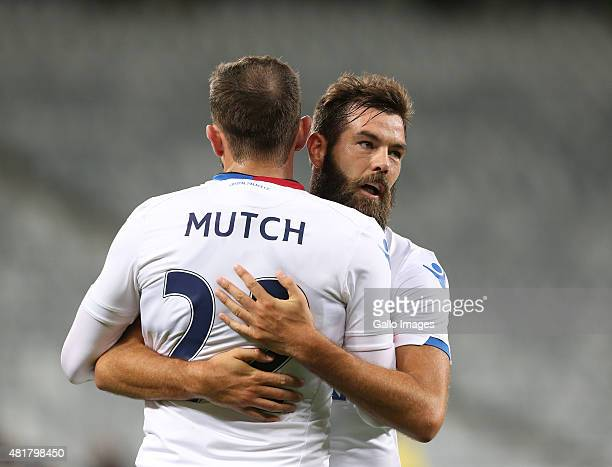 Joe Ledley and Jordon Mutch of Crystal Palace celebrates during the 2015 Cape Town Cup match between SuperSport United and Crystal Palace FC at Cape...