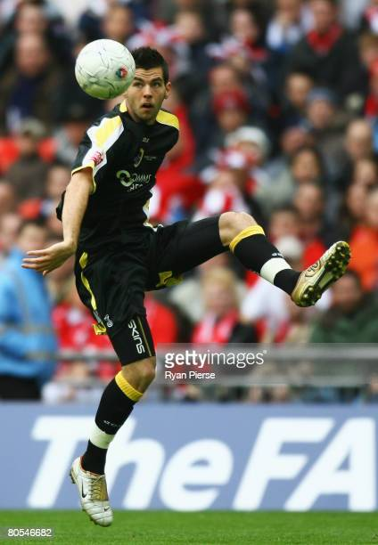 Joe Ledley of Cardiff in action during the FA Cup sponsored by EON SemiFinal match between Barnsley and Cardiff City at Wembley Stadium on April 6...