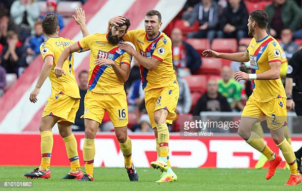 Joe Ledley of Crystal Palace celebrates scoring his sides first goal during the Premier League match between Sunderland and Crystal Palace at the...