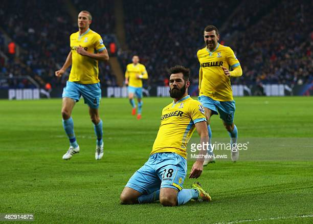Joe Ledley of Crystal Palace celebrates scoring the opening goal during the Barclays Premier League match between Leicester City and Crystal Palace...