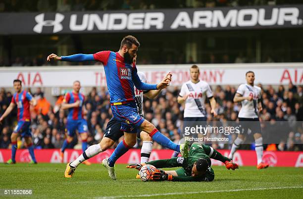 Joe Ledley of Crystal Palace has an attempt at goal saved by Michel Vorm of Tottenham Hotspur during the Emirates FA Cup Fifth Round match between...