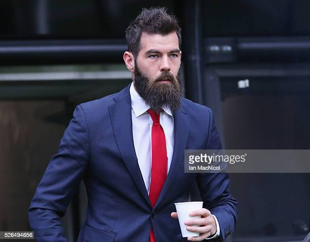 Joe Ledley of Crystal Palace is seen on arrival at the stadium prior to the Barclays Premier League match between Newcastle United and Crystal Palace...