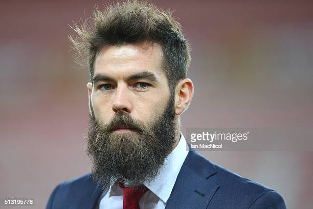 Joe Ledley of Crystal Palace looks on prior to the Barclays Premier League match between Sunderland and Crystal Palace at Stadium of Light on March 1...