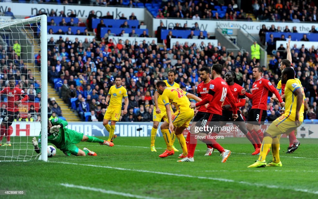 Joe Ledley #28 of Crystal Palace scores his team's second goal during the Barclays Premier League match between Cardiff City and Crystal Palace at Cardiff City Stadium on April 5, 2014 in Cardiff, Wales.