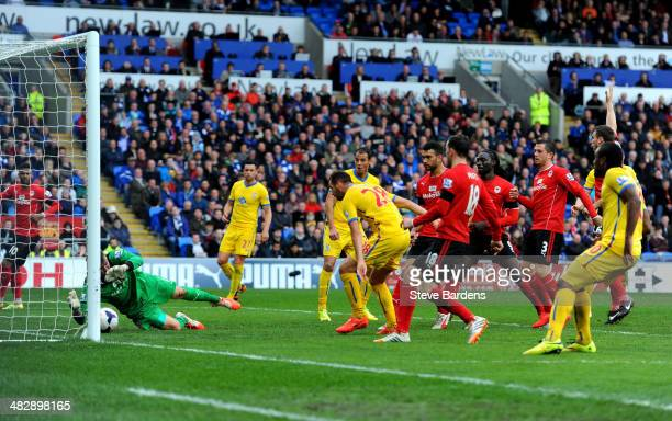 Joe Ledley of Crystal Palace scores his team's second goal during the Barclays Premier League match between Cardiff City and Crystal Palace at...