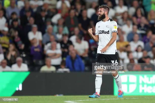 Joe Ledley of Derby County celebrates after scoring a goal to make it 10 during the Sky Bet Championship match between Derby County and Ipswich Town...