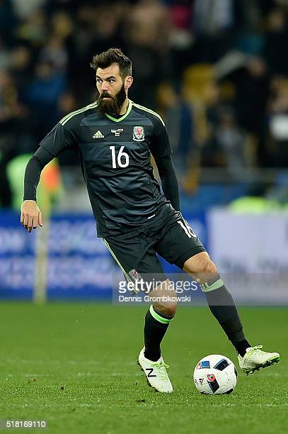 Joe Ledley of Wales controls the ball during the International Friendly match between Ukraine and Wales at NSK Olimpijskyj on March 28 2016 in Kiev...