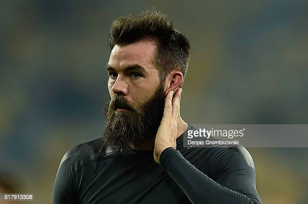 Joe Ledley of Wales looks dejected after the International Friendly match between Ukraine and Wales at NSK Olimpijskyj on March 28 2016 in Kiev...