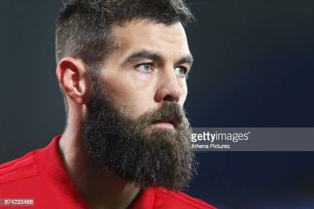 Joe Ledley of Wales prior to kick off of the International Friendly match between Wales and Panama at The Cardiff City Stadium on November 14 2017 in...
