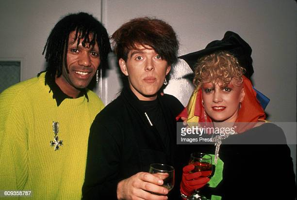 Joe Leeway Tom Bailey and Alannah Currie of The Thompson Twins circa 1984 in New York City