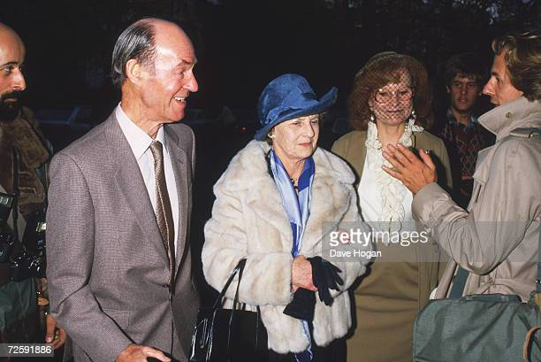 Joe left and Eva Jagger centre parents of Rolling Stones singer Mick circa 1985