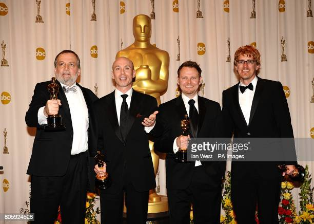 Joe Letteri, Stephen Rosenbaum, Stephen Rosenbaum and Andrew R. Jones with the Achievement in Visual Effects award, received for Avatar, at the 82nd...