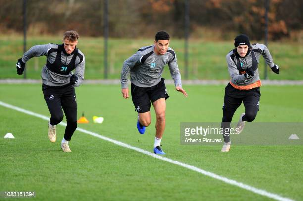 Joe Lewis Ben Cabango and Adnan Maric of Swansea City in action during the Swansea City Training at The Fairwood Training Ground on January 15 2019...