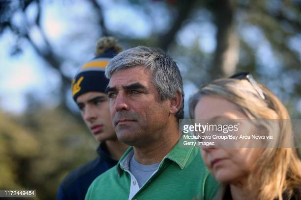 Joe Lewis left, his father Michael, center, and mother Lisa Lewis, right, are photographed during a press conference at Lake Merritt on Monday, Dec....