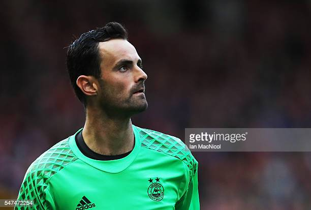 Joe Lewis of Aberdeen looks on during the UEFA Europa league second qualifying round first leg match between Aberdeen and Ventspils at Pittodrie...