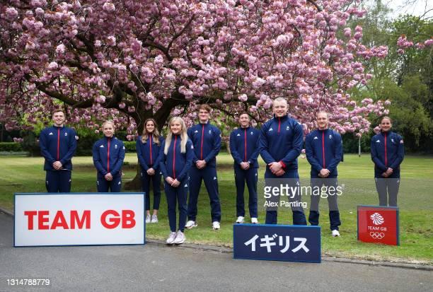 Joe Litchfield, Anna Hopkin, Molly Renshaw, Abbie Wood, James WIlby, Max Litchfield, Adam Peaty, Luke Greenback and Sarah Vasey of Great Britain pose...