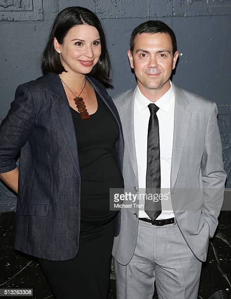 Joe Lo Truglio and Beth Dover arrive at the Los Angeles premiere of 'Knight Of Cups' held at The Theatre at Ace Hotel on March 1 2016 in Los Angeles...