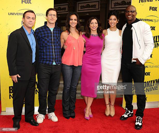 Joe Lo Truglio Andy Samberg Melissa Fumero Chelsea Peretti Stephanie Beatriz and Terry Crews attend the Brooklyn NineNine steakout block party and...