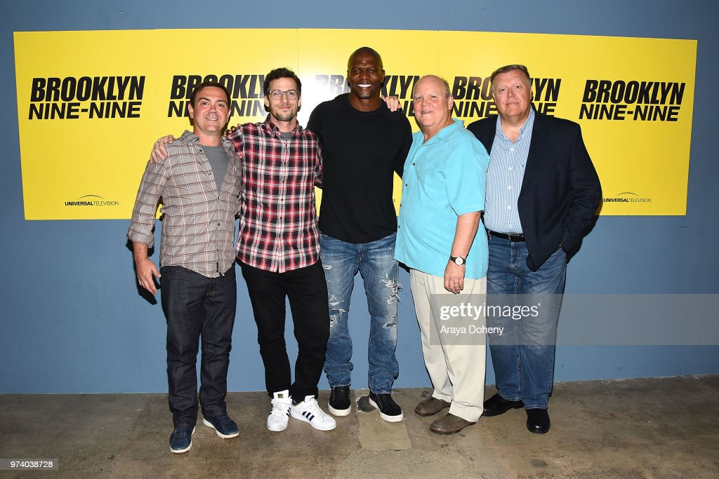 Joe Lo Truglio, Andy Samberg, Terry Crews, Dirk Blocker and Joel McKinnon Miller attend Universal Television's FYC @ UCB 'Brooklyn Nine-Nine' at UCB Sunset Theater on June 13, 2018 in Los Angeles, California.