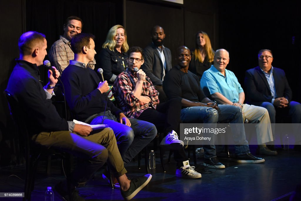 Joe Lo Truglio, Lang Fisher, Phil Augusta Jackson, Carol Kolb, (bottom row) Marc Evan Jackson, Dan Goor, Andy Samberg, Terry Crews, Dirk Blocker and Joel McKinnon Miller attend Universal Television's FYC @ UCB 'Brooklyn Nine-Nine' at UCB Sunset Theater on June 13, 2018 in Los Angeles, California.