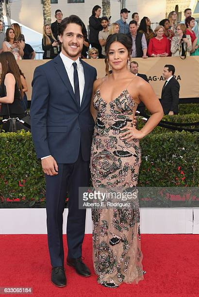 Joe LoCicero and actor Gina Rodriguez attend the 23rd Annual Screen Actors Guild Awards at The Shrine Expo Hall on January 29 2017 in Los Angeles...