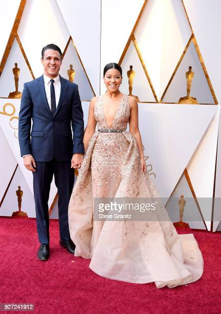 Joe LoCicero and Gina Rodriguez attend the 90th Annual Academy Awards at Hollywood Highland Center on March 4 2018 in Hollywood California