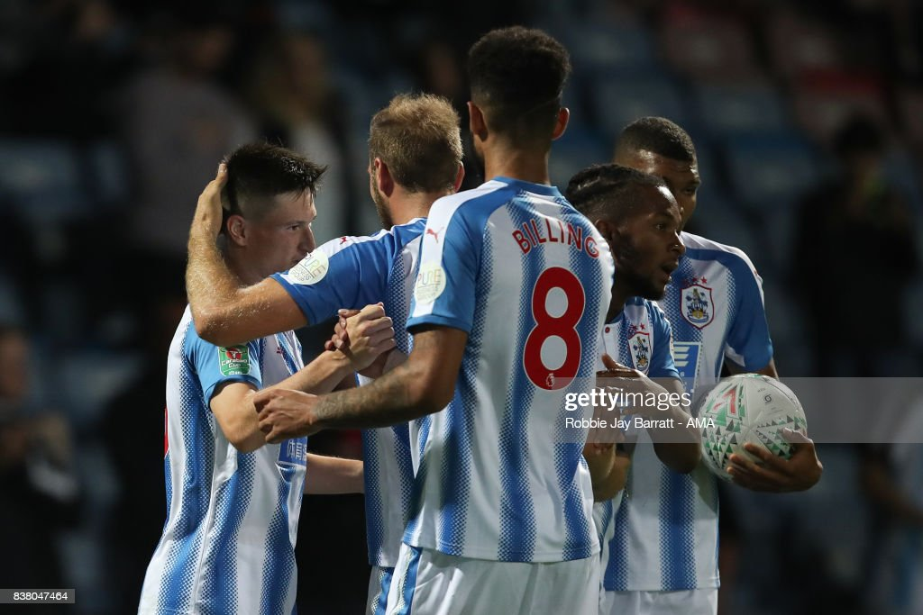 Joe Lolley of Huddersfield Town celebrates after scoring a goal to make it 2-1 during the Carabao Cup Second Round match between Huddersfield Town and Rotherham United at The John Smiths Stadium on August 23, 2017 in Huddersfield, England.
