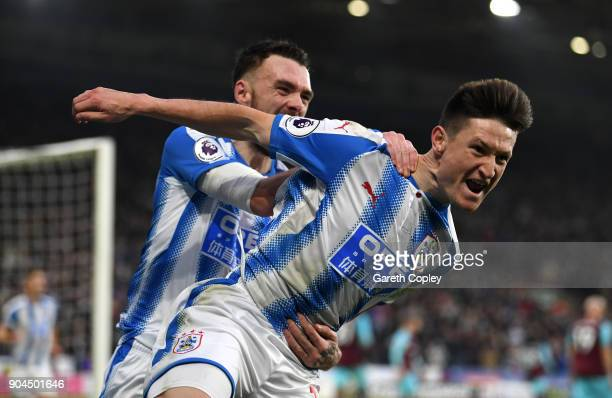 Joe Lolley of Huddersfield Town celebrates after scoring his sides first goal during the Premier League match between Huddersfield Town and West Ham...