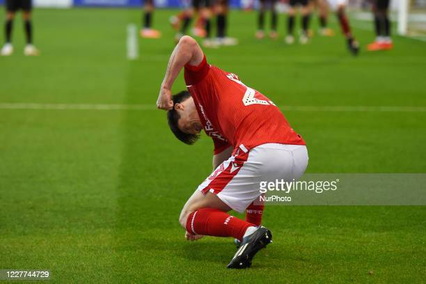 Joe Lolley of Nottingham Forest celebrates after his team scored to make it 11 during the Sky Bet Championship match between Nottingham Forest and...