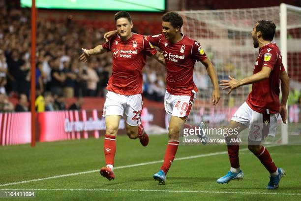 Joe Lolley of Nottingham Forest celebrates after scoring a goal to make it 2-0 during the Carabao Cup Second Round between Nottingham Forest and...