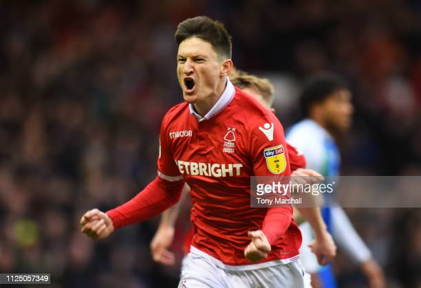 Joe Lolley of Nottingham Forest celebrates after scoring his team's first goal during the Sky Bet Championship match between Nottingham Forest and...
