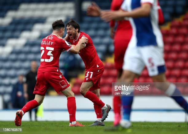 Joe Lolley of Nottingham Forest celebrates his goal with Harry Arter of Nottingham Forest during the Sky Bet Championship match between Blackburn...