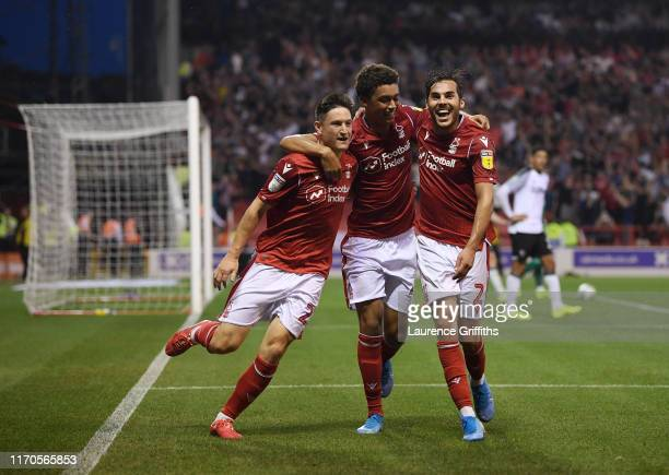 Joe Lolley of Nottingham Forest celebrates scoring the second goal with Brennan Johnson and Yuri Ribeiro during the Carabao Cup Second Round match...