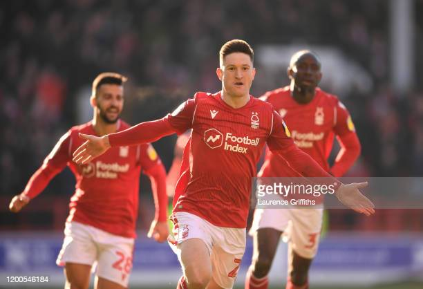 Joe Lolley of Nottingham Forest celebrates scoring the second goal during the Sky Bet Championship match between Nottingham Forest and Luton Town at...