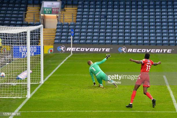 Joe Lolley of Nottingham Forest scores to make it 1-0 to Forest during the Sky Bet Championship match between Blackburn Rovers and Nottingham Forest...