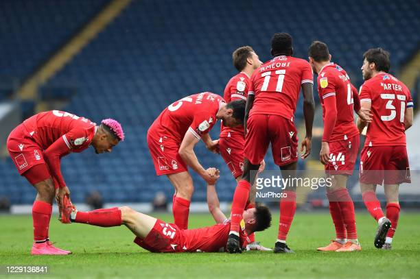 Joe Lolley of Nottingham Forest scores to make it 10 to Forest during the Sky Bet Championship match between Blackburn Rovers and Nottingham Forest...