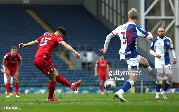 Joe Lolley of Nottingham Forest shoots and scores his sides first goal during the Sky Bet Championship match between Blackburn Rovers and Nottingham...