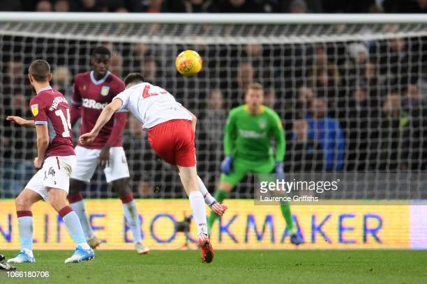 Joe Lolley of Notts Forest scores to make it 43 during the Sky Bet Championship match between Aston Villa and Nottingham Forest at Villa Park on...