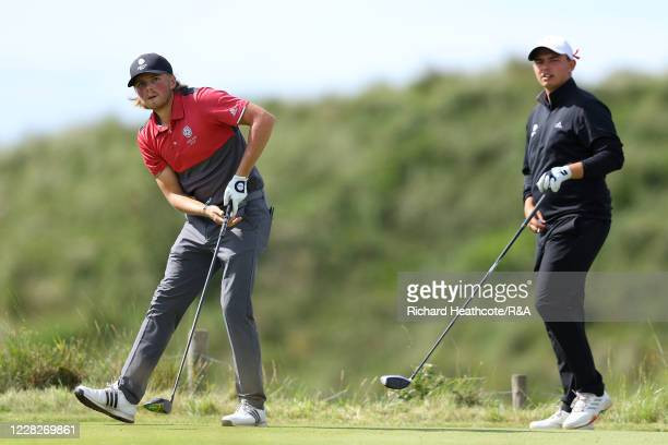 Joe Long and Joe Harvey of England look down the 8th hole in the afternoon round during the Final on Day Six of the Amateur Championship at Royal...