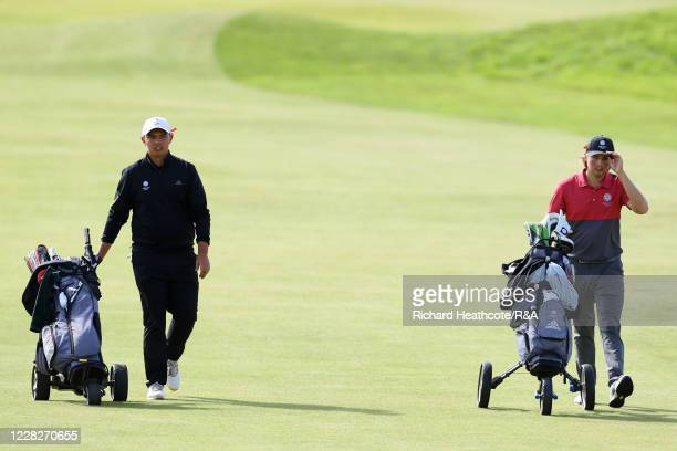 Joe Long of England and Joe Harvey of England walk down the 13th hole in the afternoon round during the Final on Day Six of the Amateur Championship...