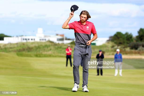 Joe Long of England celebrates his 4&3 victory on the 15th green in the afternoon round during the Final on Day Six of the Amateur Championship at...