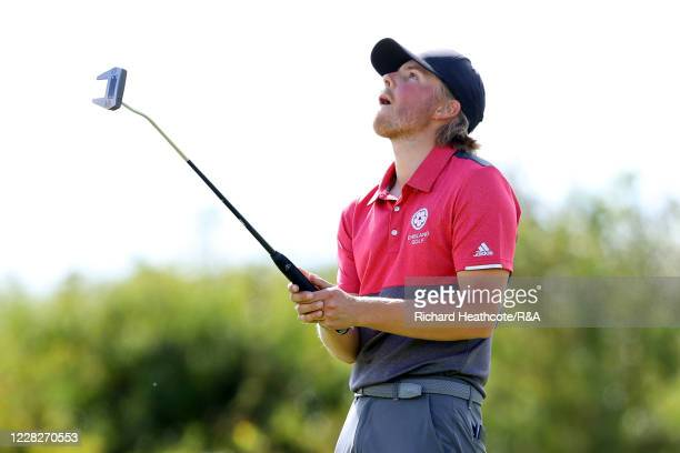 Joe Long of England reacts to a missed putt on the 12th hole in the afternoon round during the Final on Day Six of the Amateur Championship at Royal...