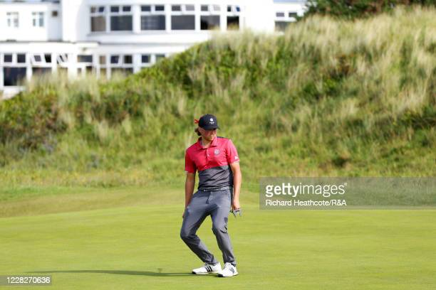 Joe Long of England reacts to a missed putt on the 14th hole in the afternoon round during the Final on Day Six of the Amateur Championship at Royal...